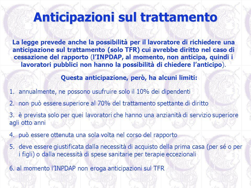 Anticipazioni sul trattamento La legge prevede anche la possibilità per il lavoratore di richiedere una anticipazione sul trattamento (solo TFR) cui a
