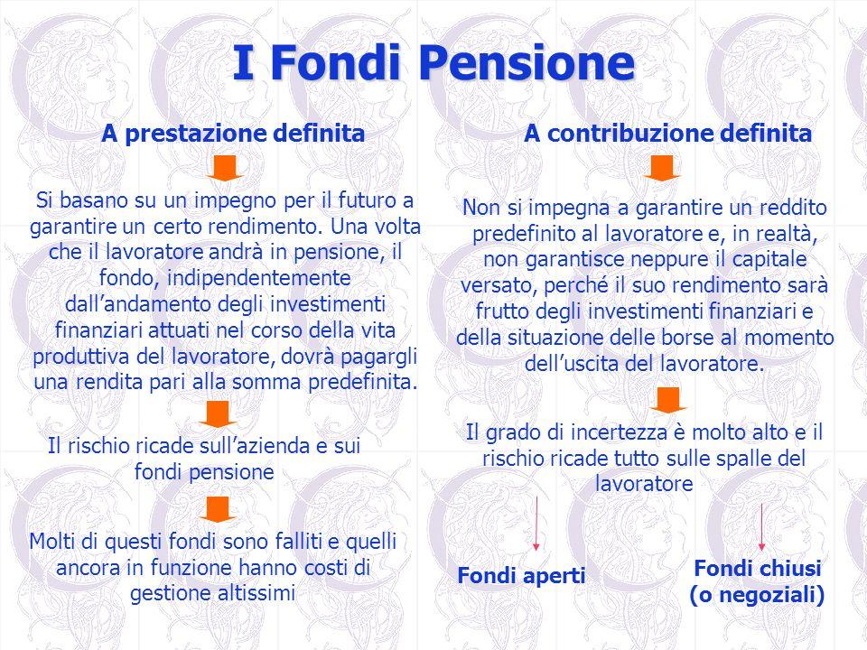 I Fondi Pensione Fondi chiusi (o negoziali) Fondi aperti A prestazione definitaA contribuzione definita Si basano su un impegno per il futuro a garant