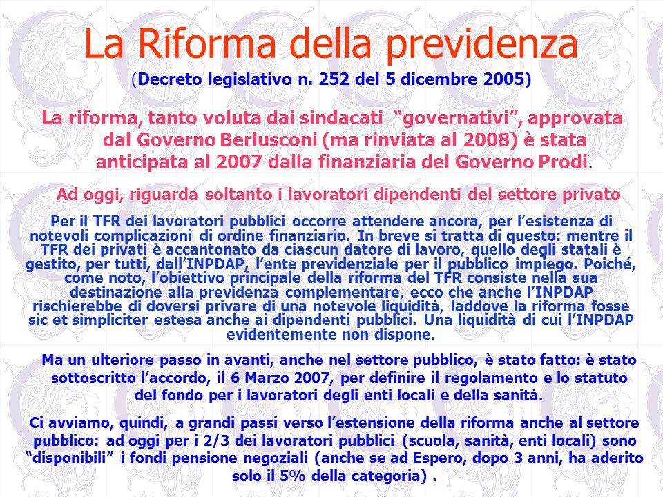 La Riforma della previdenza (Decreto legislativo n. 252 del 5 dicembre 2005) La riforma, tanto voluta dai sindacati governativi, approvata dal Governo