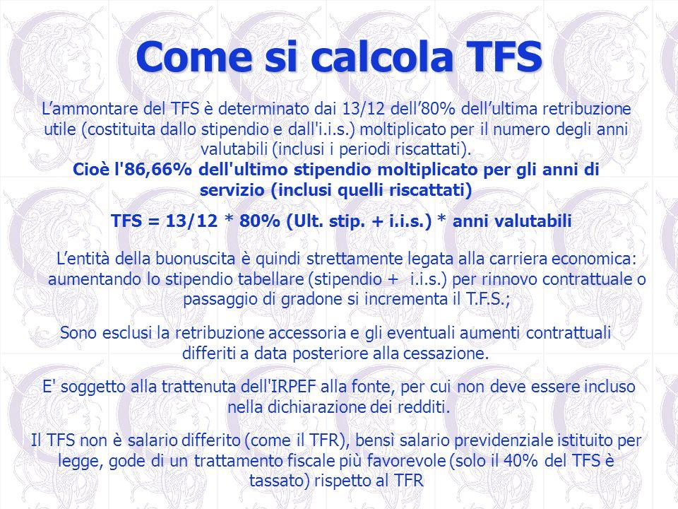 Come si calcola TFS Lammontare del TFS è determinato dai 13/12 dell80% dellultima retribuzione utile (costituita dallo stipendio e dall'i.i.s.) moltip