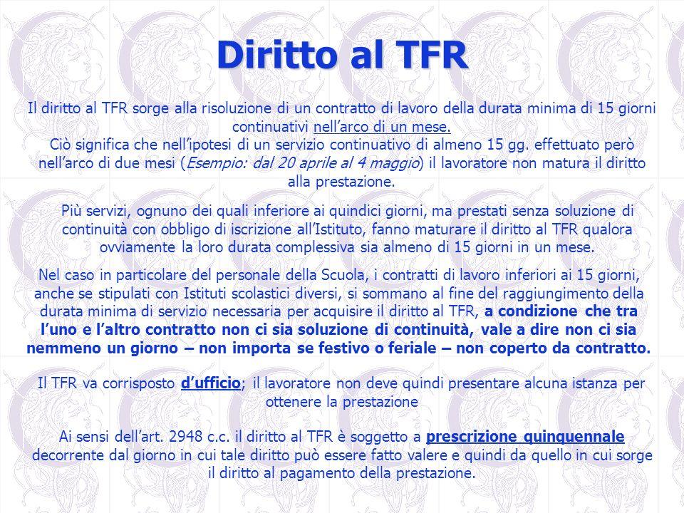 Diritto al TFR Il diritto al TFR sorge alla risoluzione di un contratto di lavoro della durata minima di 15 giorni continuativi nellarco di un mese. C