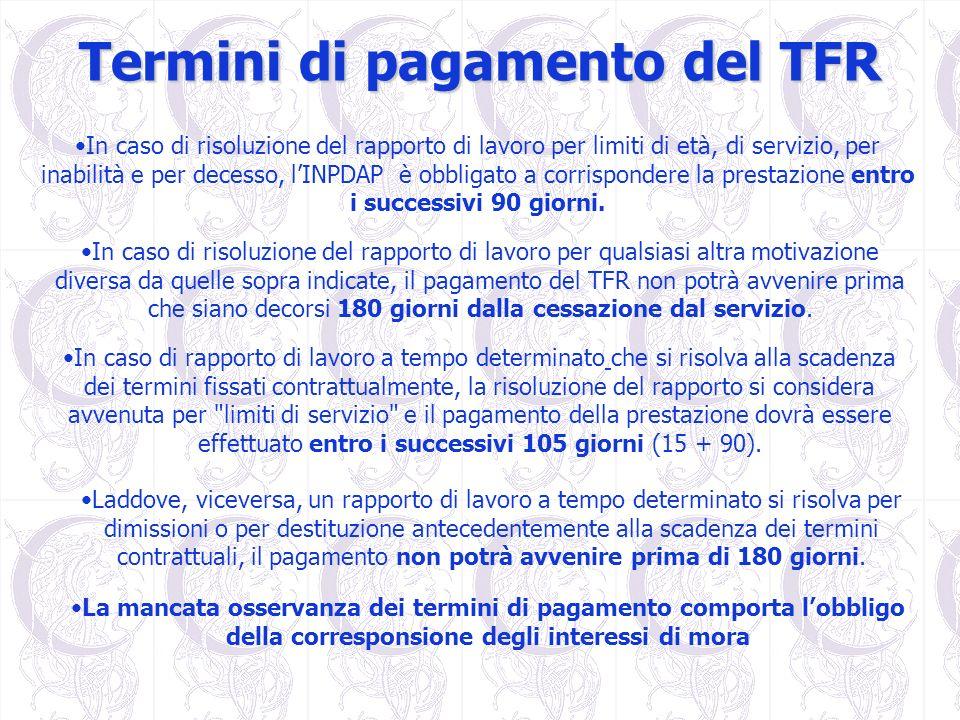 Termini di pagamento del TFR In caso di risoluzione del rapporto di lavoro per limiti di età, di servizio, per inabilità e per decesso, lINPDAP è obbl