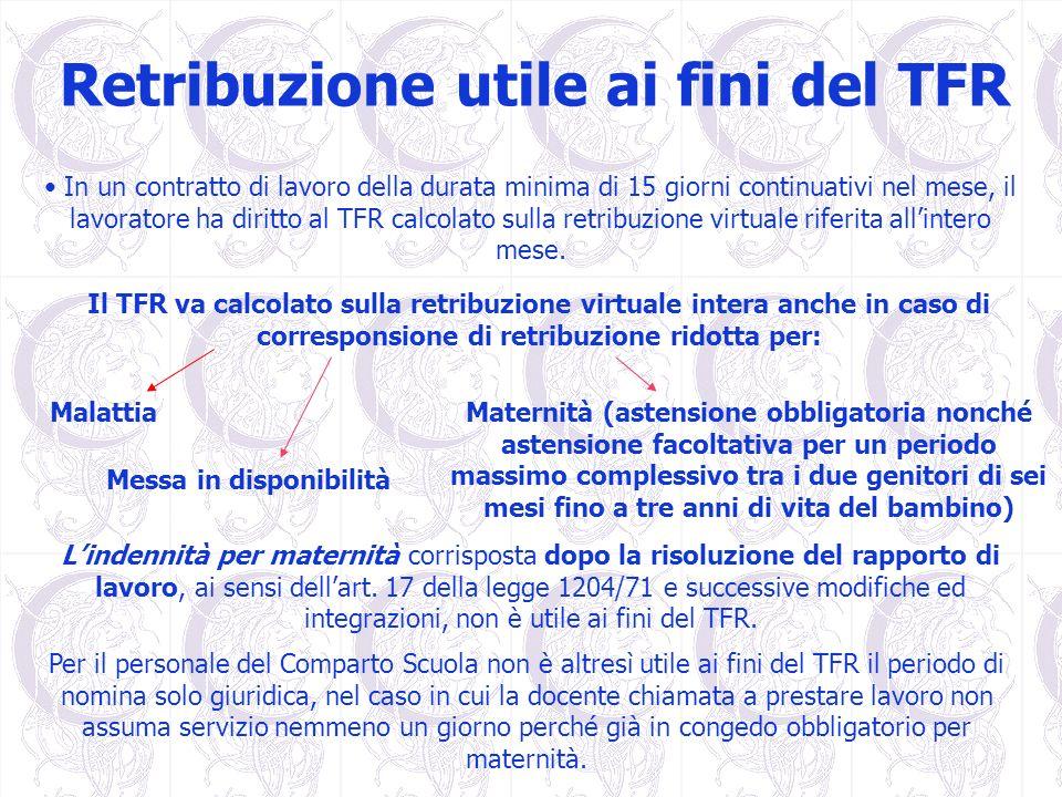 Retribuzione utile ai fini del TFR In un contratto di lavoro della durata minima di 15 giorni continuativi nel mese, il lavoratore ha diritto al TFR c