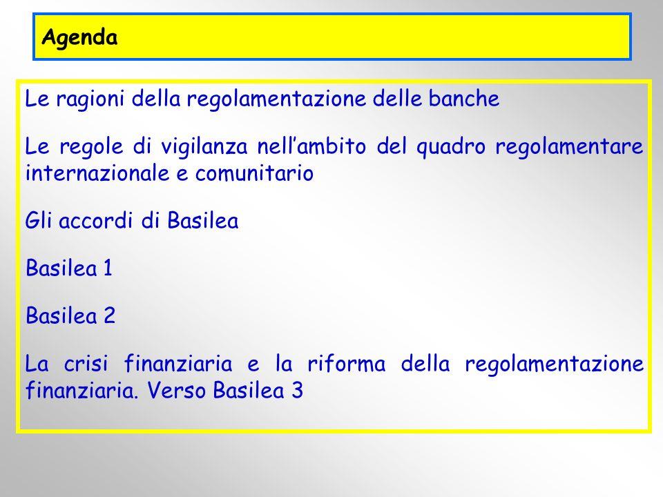 Agenda Le ragioni della regolamentazione delle banche Le regole di vigilanza nellambito del quadro regolamentare internazionale e comunitario Gli acco