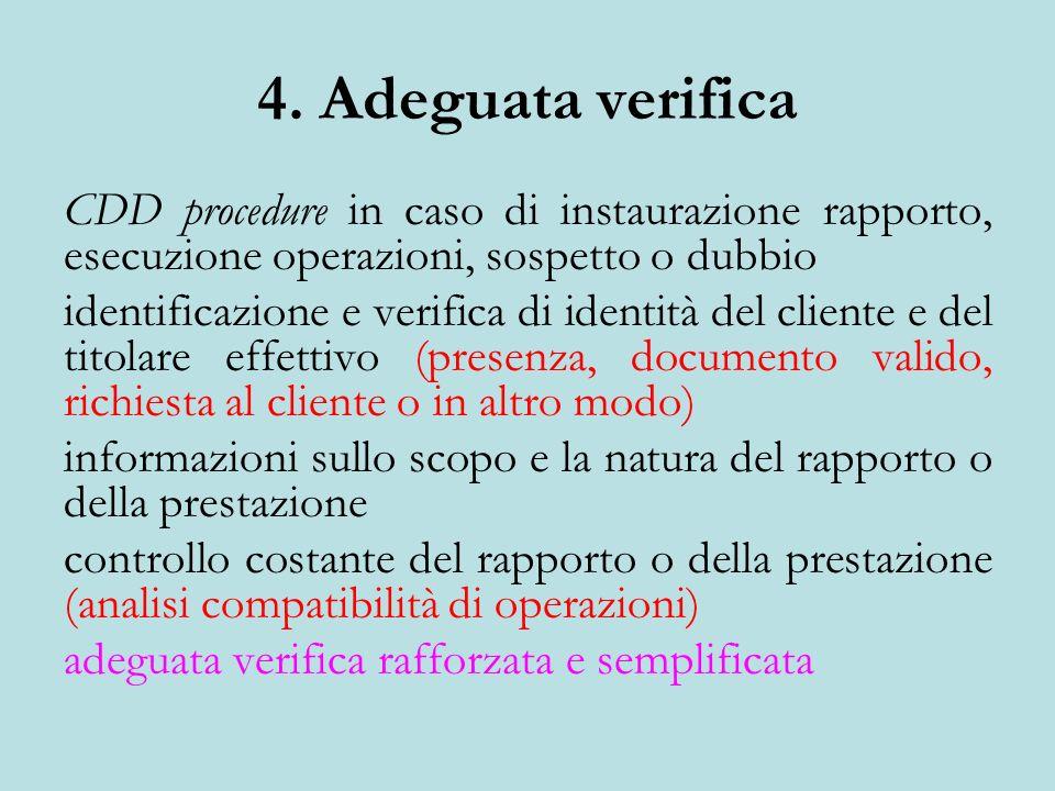 4. Adeguata verifica CDD procedure in caso di instaurazione rapporto, esecuzione operazioni, sospetto o dubbio identificazione e verifica di identità