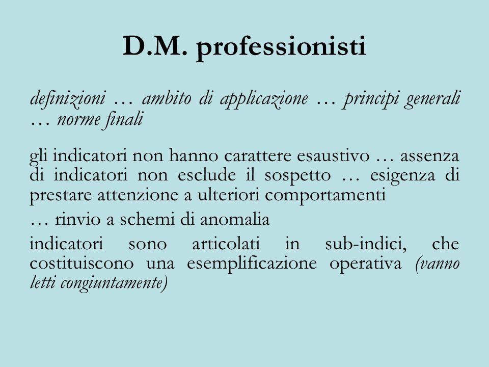 D.M. professionisti definizioni … ambito di applicazione … principi generali … norme finali gli indicatori non hanno carattere esaustivo … assenza di