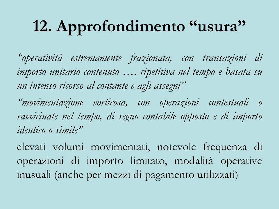 12. Approfondimento usura operatività estremamente frazionata, con transazioni di importo unitario contenuto …, ripetitiva nel tempo e basata su un in