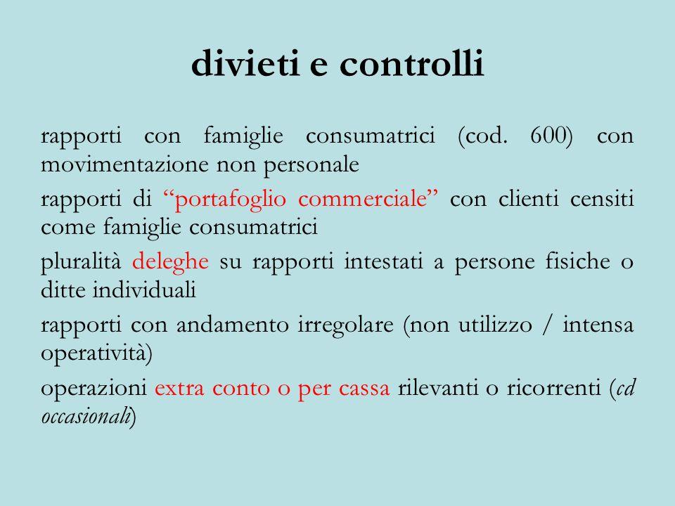 divieti e controlli rapporti con famiglie consumatrici (cod.