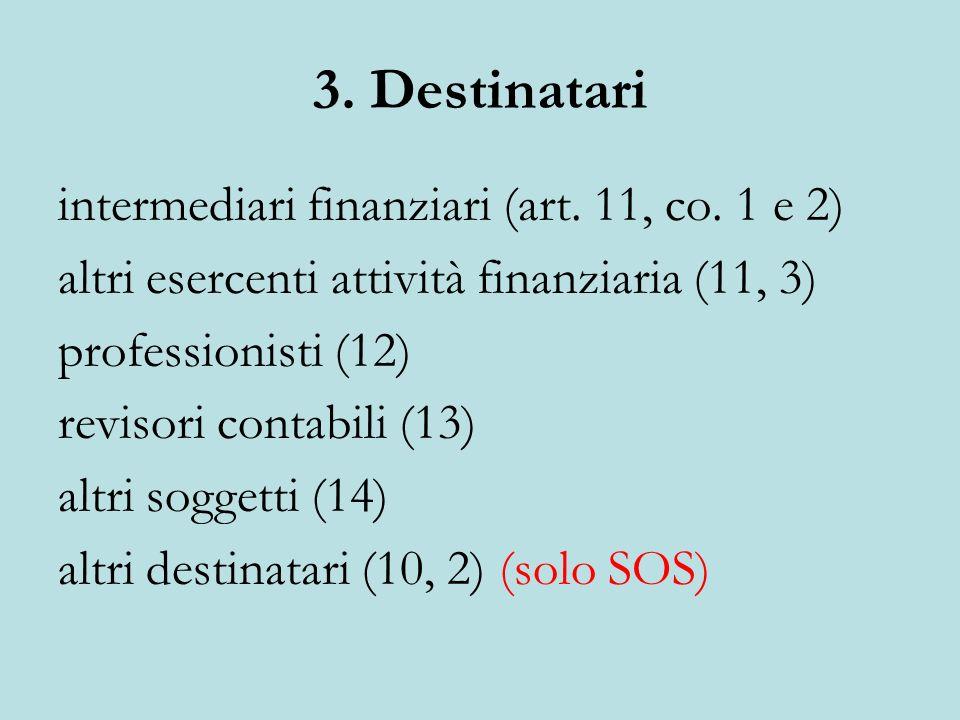 3. Destinatari intermediari finanziari (art. 11, co.
