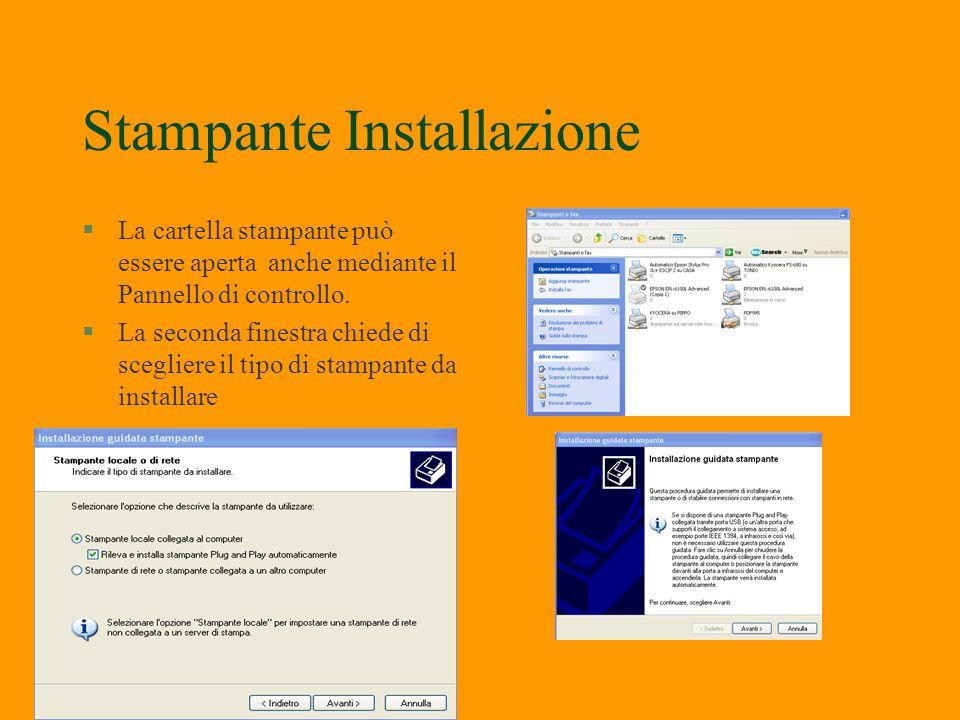Stampanti §Le stampanti sono periferiche esterne si possono collegare o alla porta parallela o alla porta USB. Una volta installato il driver attraver