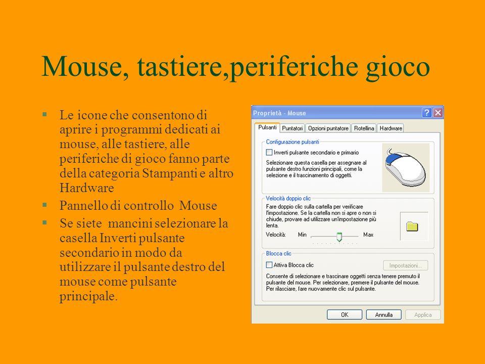 Mouse, tastiere,periferiche gioco §I driver del mouse e della tastiera vengono installati al momento dellinstallazione di windows Xp. Se si sostituisc