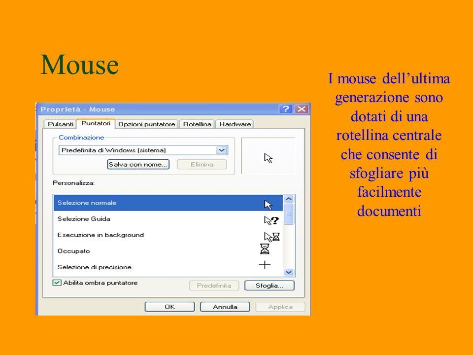 Mouse §E possibile configurare il mouse in modo da spostare le icone e gli oggetti mobili senza tener premuto il pulsante sinistro. Selezionare lopzio