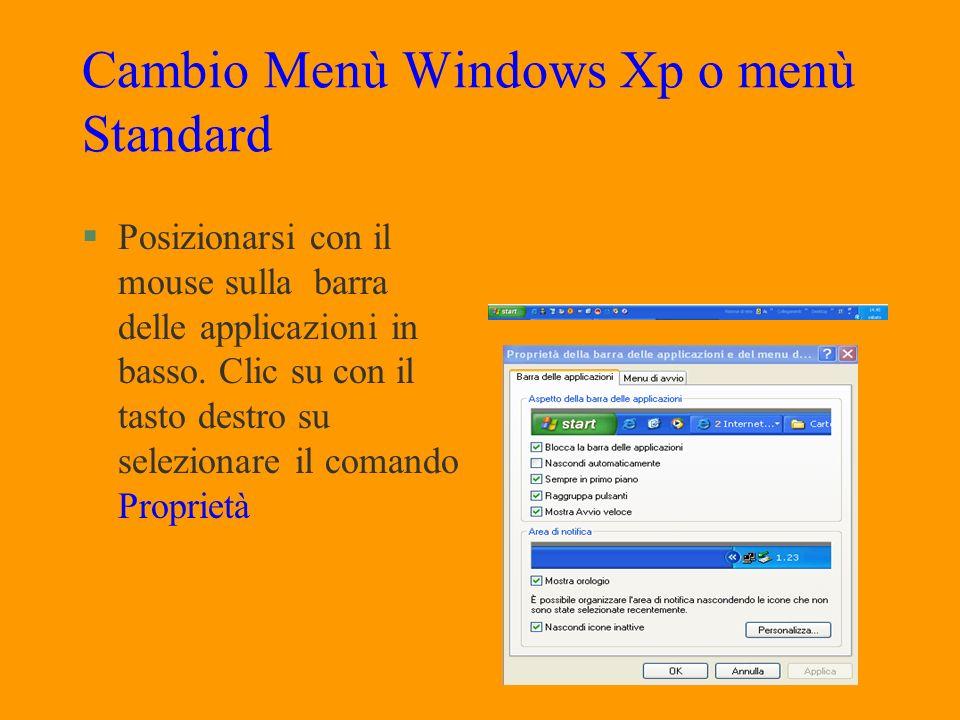 Menù Start §Il menù start si apre ogni volta che vi si fa clic sopra. §Epossibile anche attivarlo mediante il tasto con licona di Windows sulla tastie