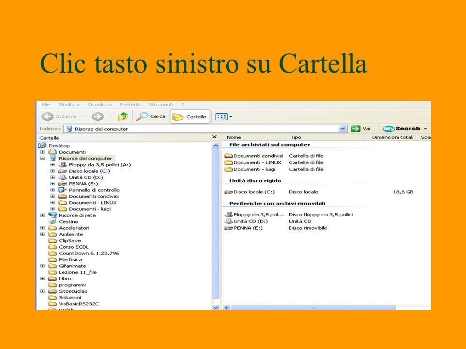 Visualizza contenuto cartella §Per visualizzare il contenuto del disco rigido fare clic sullicona visualizza contenuto della cartella