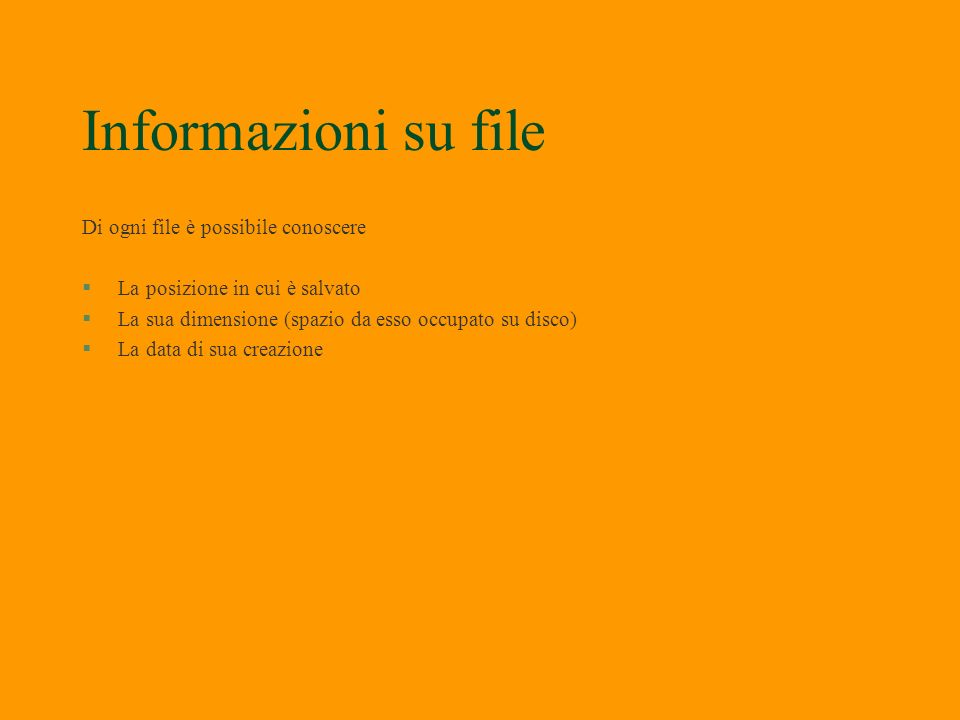 Visualizzazione file contenuti §Per visualizzare il numero di file basta leggere nella barra di stato §Si può cambiare la visualizzazione con clic su