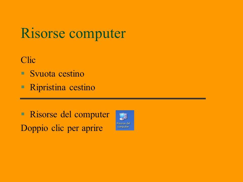 Risorse computer Clic §Svuota cestino §Ripristina cestino §Risorse del computer Doppio clic per aprire