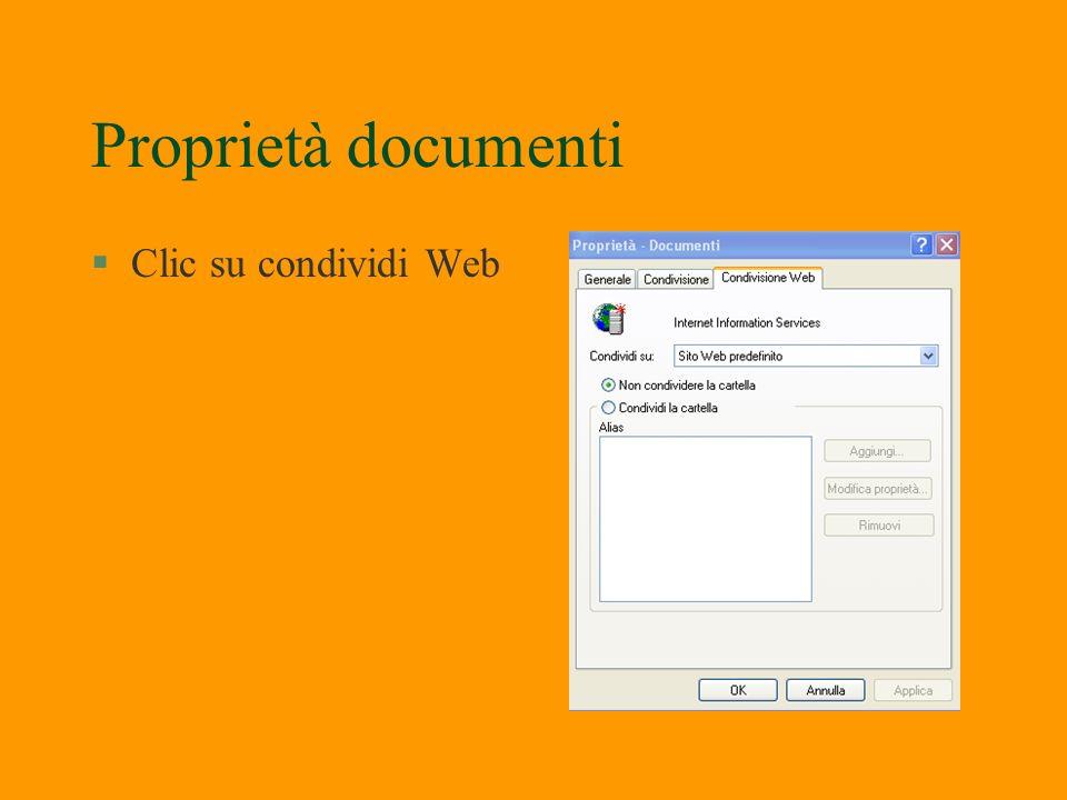 Condivisione documenti §Clic su generale Clic su condivisione