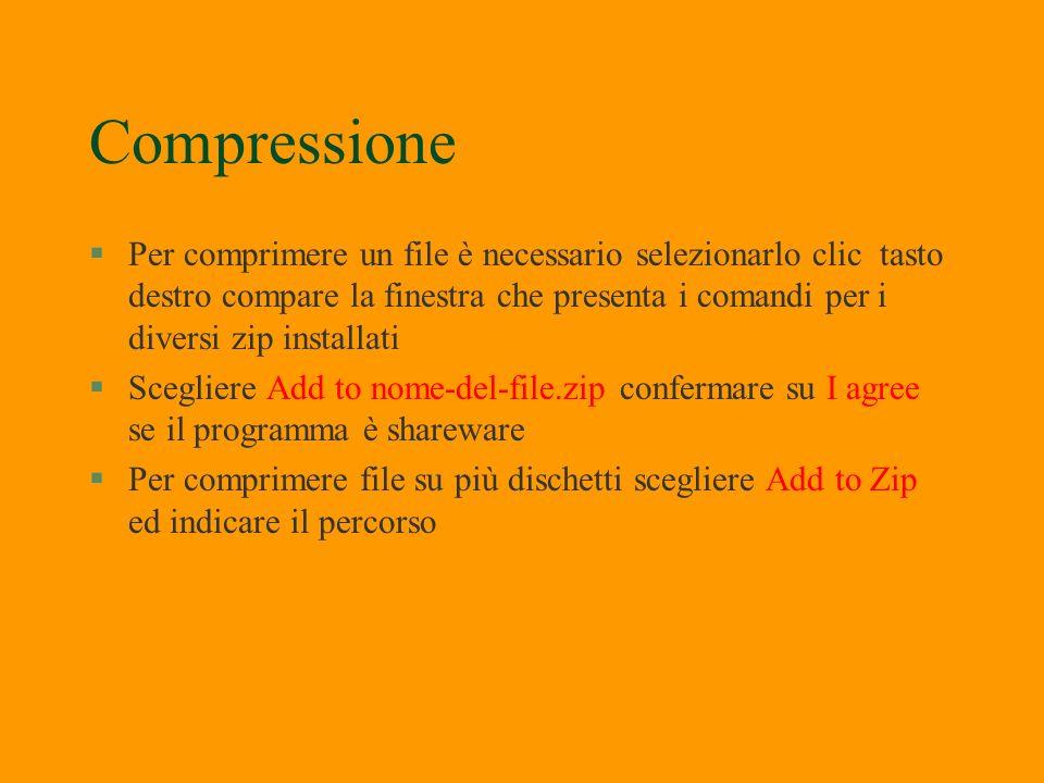 Compressione §Winzip permette di copiare, compattare, proteggere documenti §Pentazip Permette di scegliere tra 10 livelli di compressione §WinRar cons