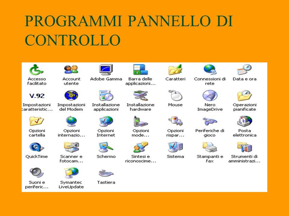 Il Pannello di controllo è unapplicazione che permette di modificare le impostazioni relative allambiente Windows; per esempio il colore del desktop,