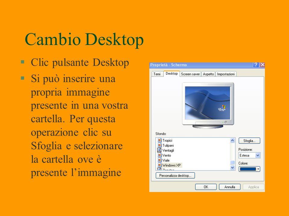 Personalizzazione Desktop §Posizionarsi in un punto qualsiasi del Desktop e clic con il tasto destro. §Selezionare Desktop