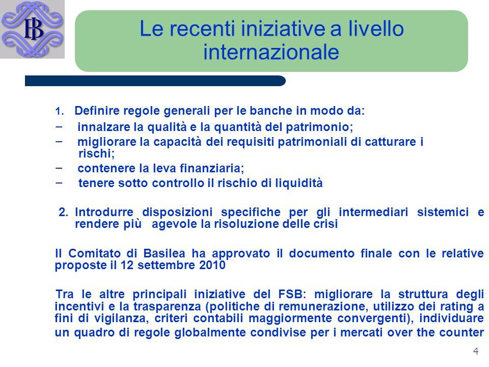 4 Le recenti iniziative a livello internazionale 1.