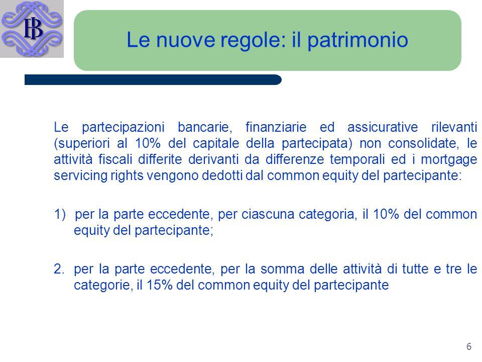 6 Le nuove regole: il patrimonio Le partecipazioni bancarie, finanziarie ed assicurative rilevanti (superiori al 10% del capitale della partecipata) non consolidate, le attività fiscali differite derivanti da differenze temporali ed i mortgage servicing rights vengono dedotti dal common equity del partecipante: 1) per la parte eccedente, per ciascuna categoria, il 10% del common equity del partecipante; 2.per la parte eccedente, per la somma delle attività di tutte e tre le categorie, il 15% del common equity del partecipante