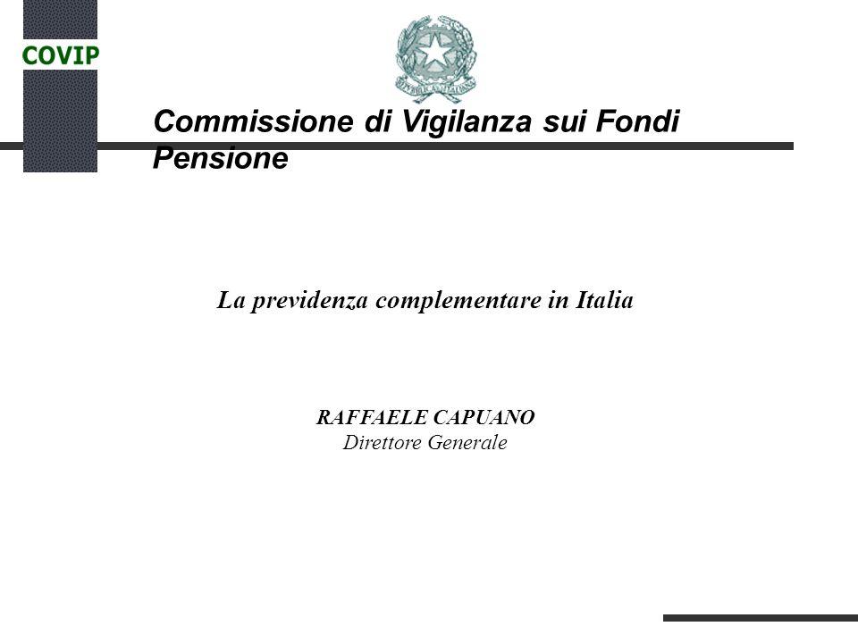 Commissione di Vigilanza sui Fondi Pensione La previdenza complementare in Italia RAFFAELE CAPUANO Direttore Generale