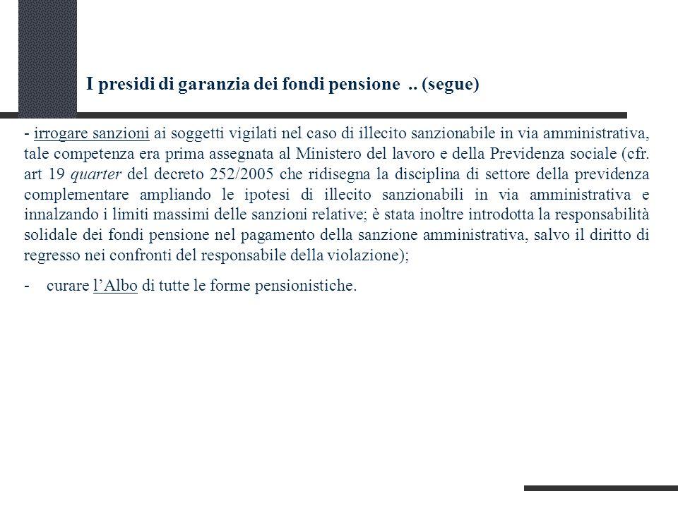 I presidi di garanzia dei fondi pensione..