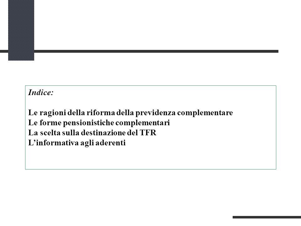 Indice: Le ragioni della riforma della previdenza complementare Le forme pensionistiche complementari La scelta sulla destinazione del TFR Linformativa agli aderenti