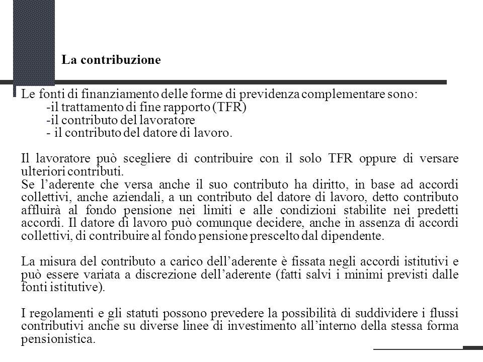La contribuzione Le fonti di finanziamento delle forme di previdenza complementare sono: -il trattamento di fine rapporto (TFR) -il contributo del lavoratore - il contributo del datore di lavoro.