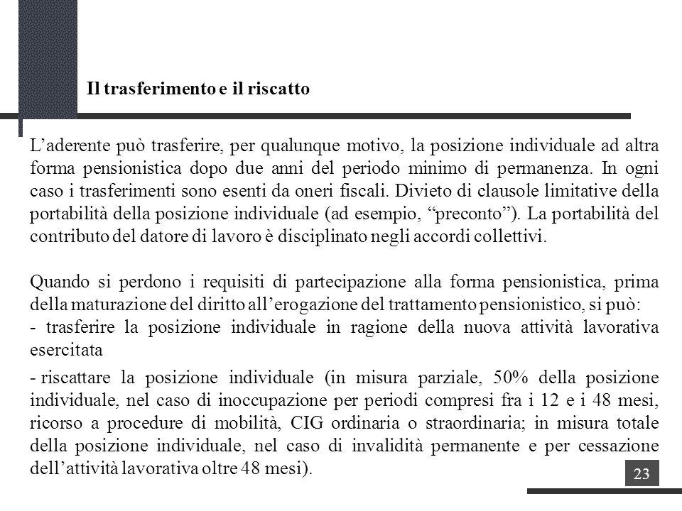Il trasferimento e il riscatto Laderente può trasferire, per qualunque motivo, la posizione individuale ad altra forma pensionistica dopo due anni del periodo minimo di permanenza.