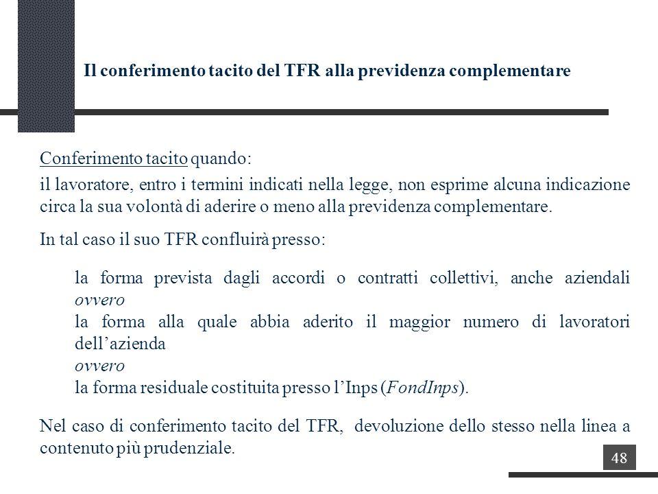 Il conferimento tacito del TFR alla previdenza complementare Conferimento tacito quando: il lavoratore, entro i termini indicati nella legge, non esprime alcuna indicazione circa la sua volontà di aderire o meno alla previdenza complementare.