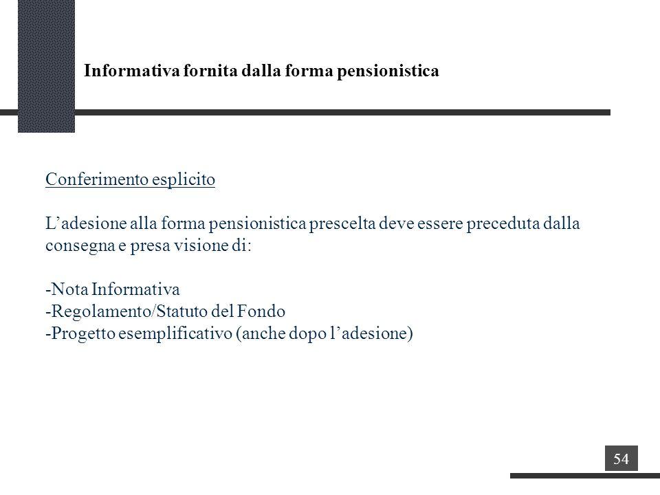 Conferimento esplicito Ladesione alla forma pensionistica prescelta deve essere preceduta dalla consegna e presa visione di: -Nota Informativa -Regolamento/Statuto del Fondo -Progetto esemplificativo (anche dopo ladesione) Informativa fornita dalla forma pensionistica 54