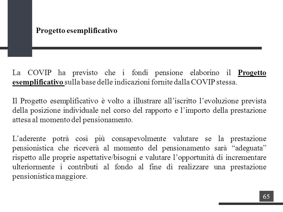 La COVIP ha previsto che i fondi pensione elaborino il Progetto esemplificativo sulla base delle indicazioni fornite dalla COVIP stessa.