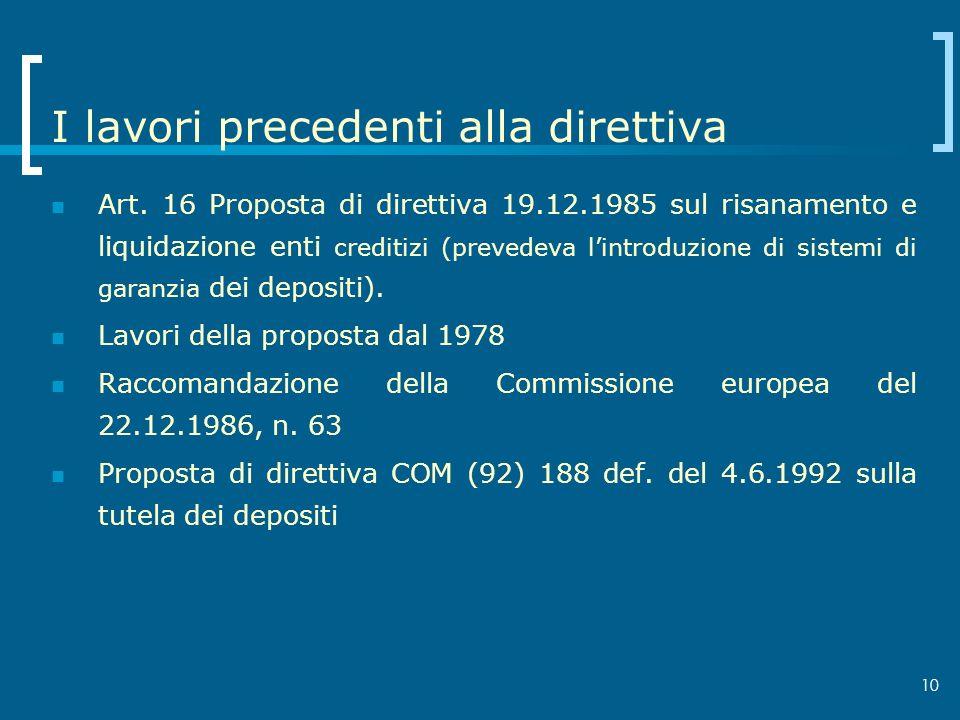 10 I lavori precedenti alla direttiva Art. 16 Proposta di direttiva 19.12.1985 sul risanamento e liquidazione enti creditizi (prevedeva lintroduzione