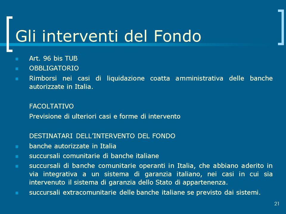 21 Gli interventi del Fondo Art. 96 bis TUB OBBLIGATORIO Rimborsi nei casi di liquidazione coatta amministrativa delle banche autorizzate in Italia. F
