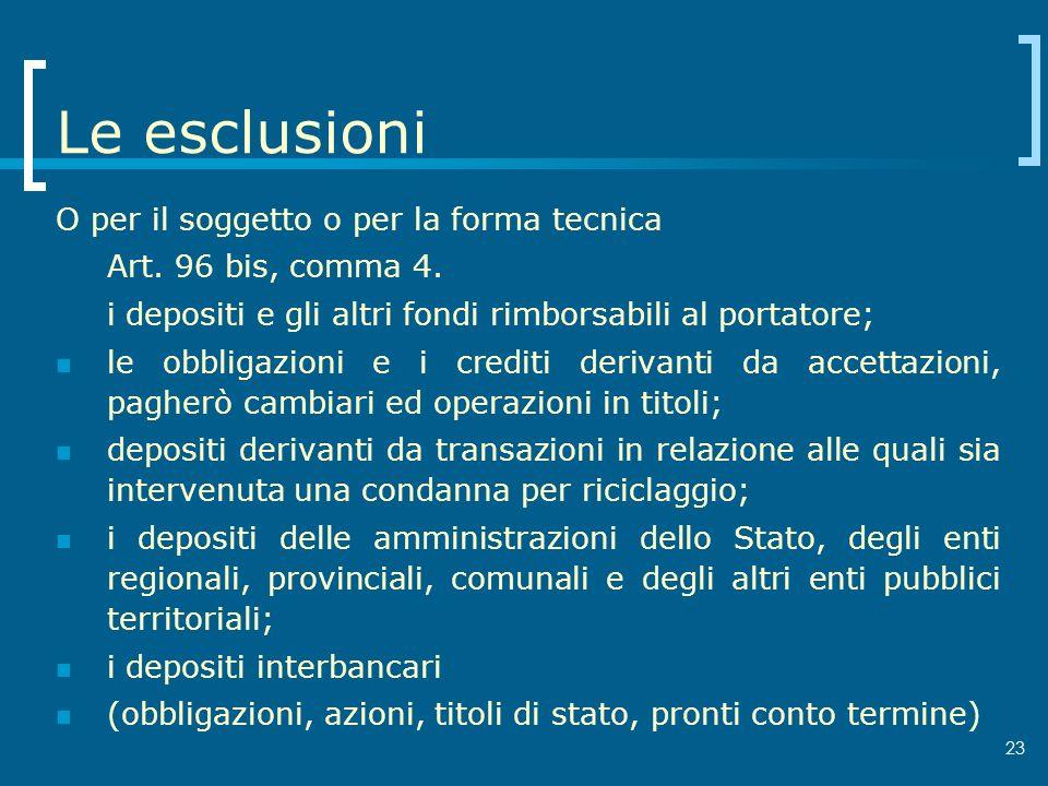 23 Le esclusioni O per il soggetto o per la forma tecnica Art. 96 bis, comma 4. i depositi e gli altri fondi rimborsabili al portatore; le obbligazion