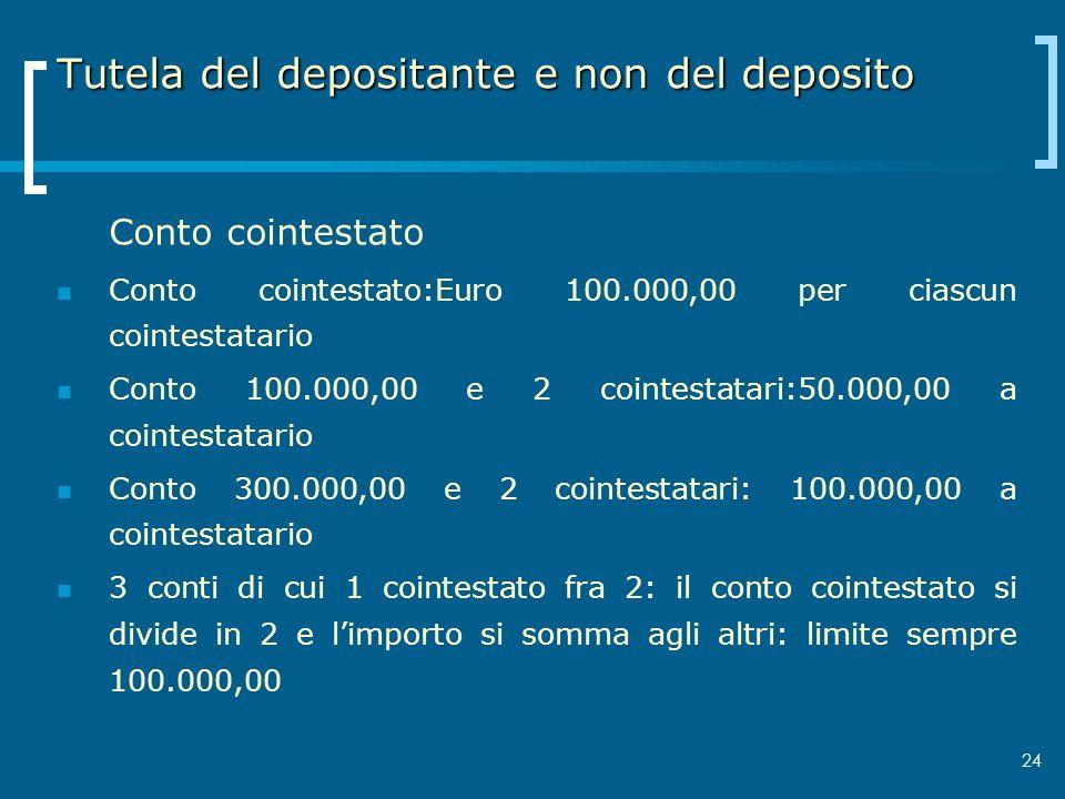 Tutela del depositante e non del deposito Conto cointestato Conto cointestato:Euro 100.000,00 per ciascun cointestatario Conto 100.000,00 e 2 cointest