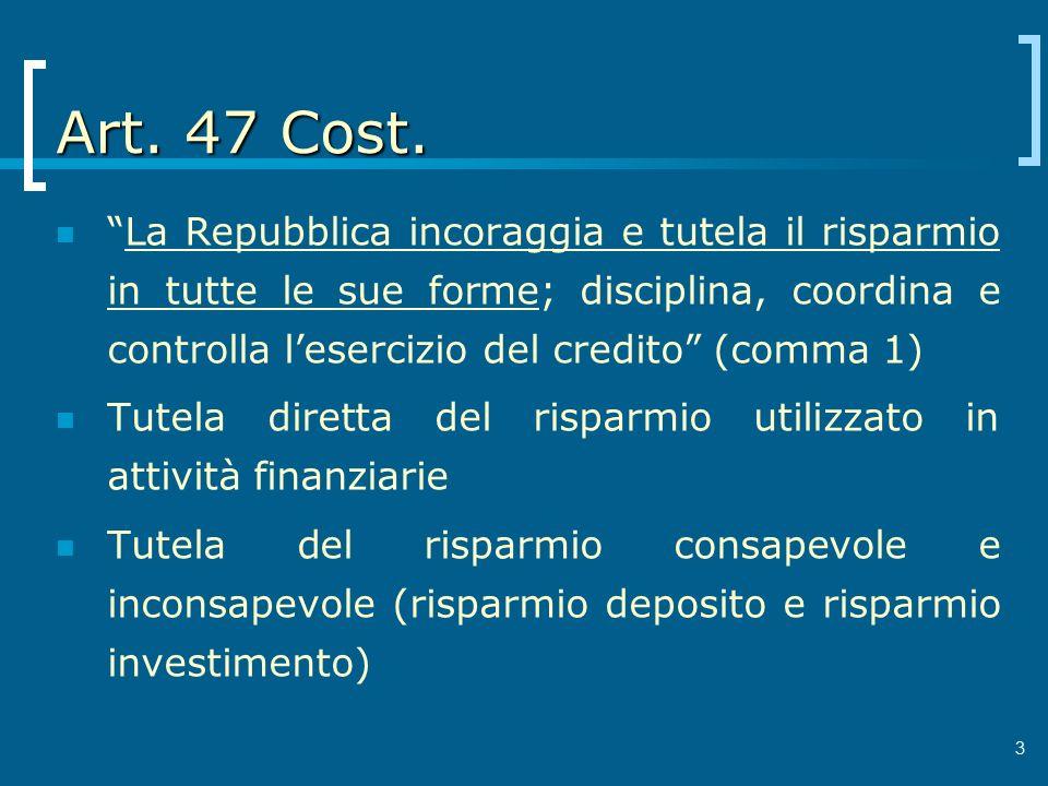 Art. 47 Cost. La Repubblica incoraggia e tutela il risparmio in tutte le sue forme; disciplina, coordina e controlla lesercizio del credito (comma 1)
