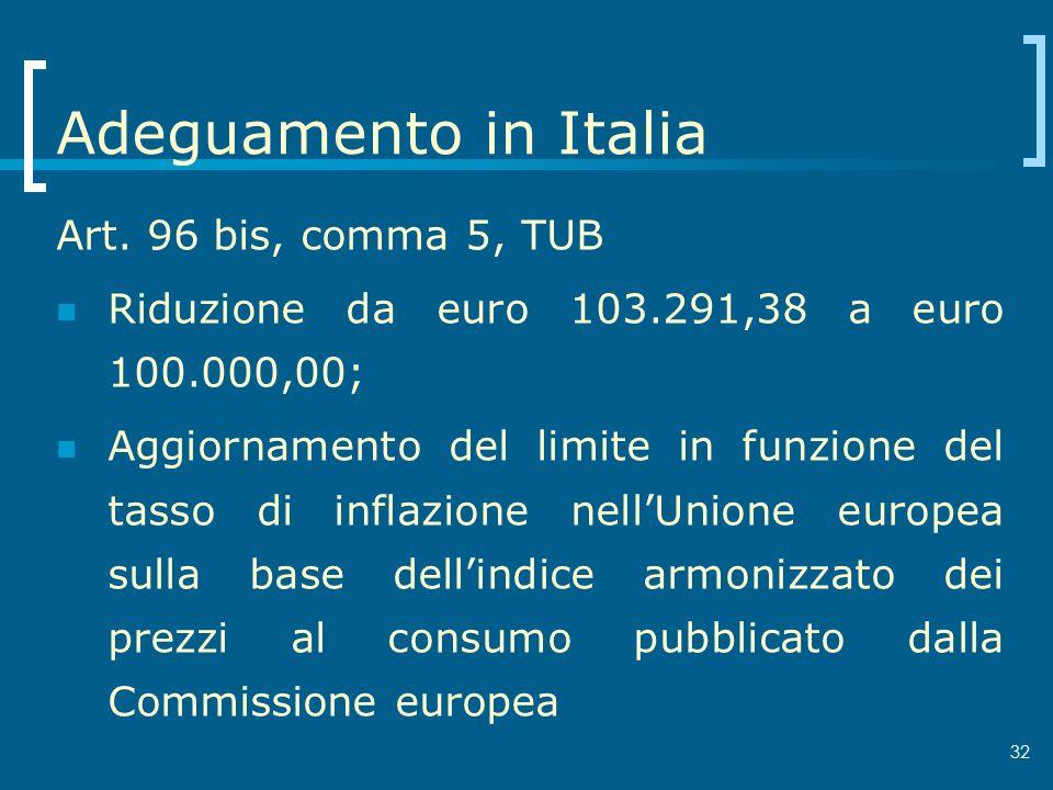 32 Adeguamento in Italia Art. 96 bis, comma 5, TUB Riduzione da euro 103.291,38 a euro 100.000,00; Aggiornamento del limite in funzione del tasso di i