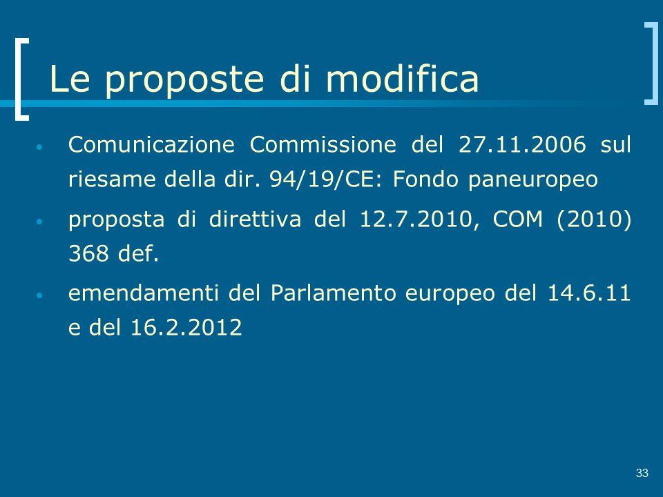 33 Le proposte di modifica Comunicazione Commissione del 27.11.2006 sul riesame della dir. 94/19/CE: Fondo paneuropeo proposta di direttiva del 12.7.2