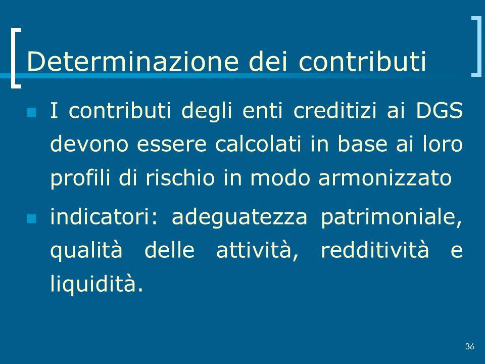 36 Determinazione dei contributi I contributi degli enti creditizi ai DGS devono essere calcolati in base ai loro profili di rischio in modo armonizza
