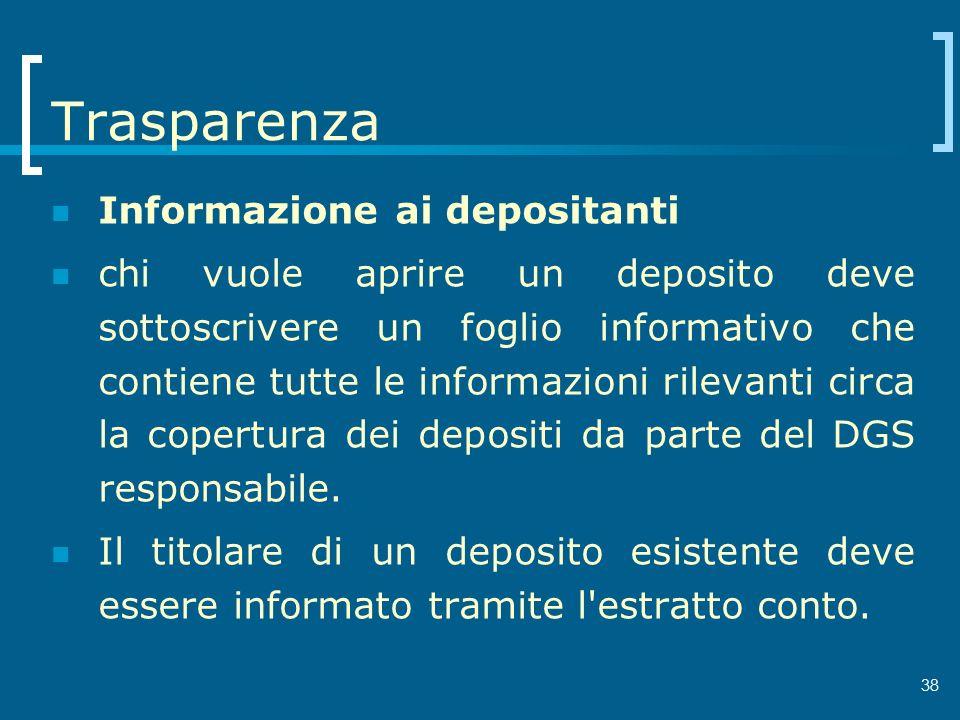 38 Trasparenza Informazione ai depositanti chi vuole aprire un deposito deve sottoscrivere un foglio informativo che contiene tutte le informazioni ri