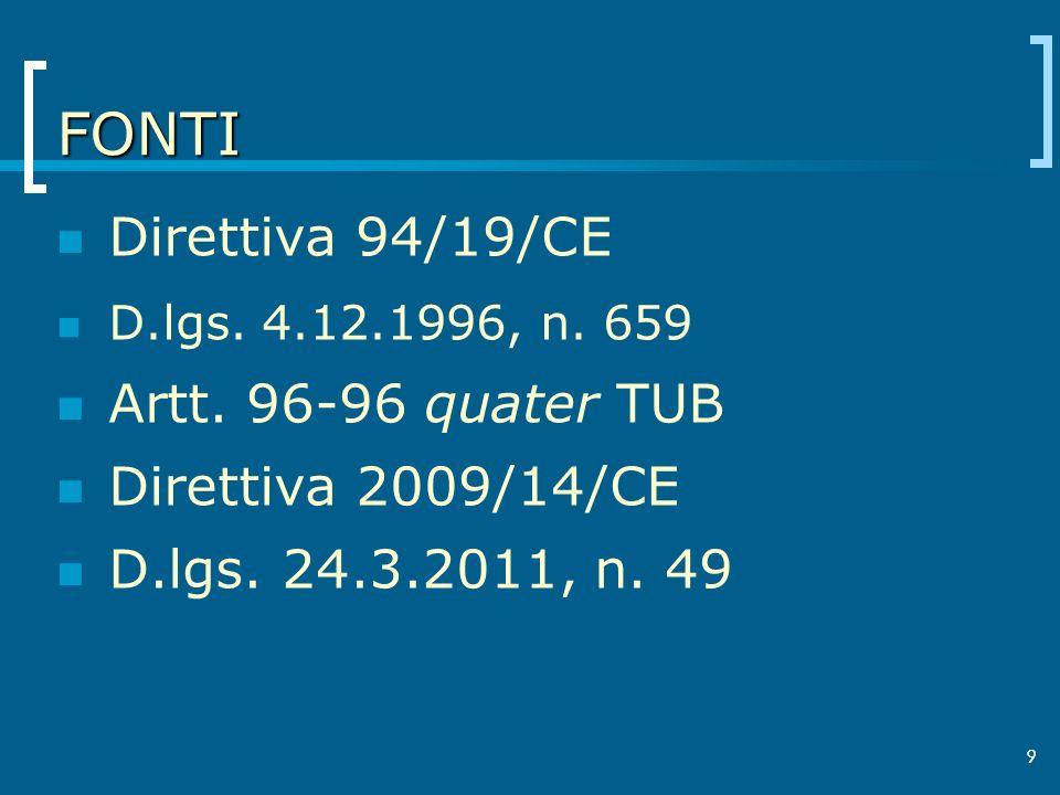 9 FONTI Direttiva 94/19/CE D.lgs. 4.12.1996, n. 659 Artt. 96-96 quater TUB Direttiva 2009/14/CE D.lgs. 24.3.2011, n. 49 9