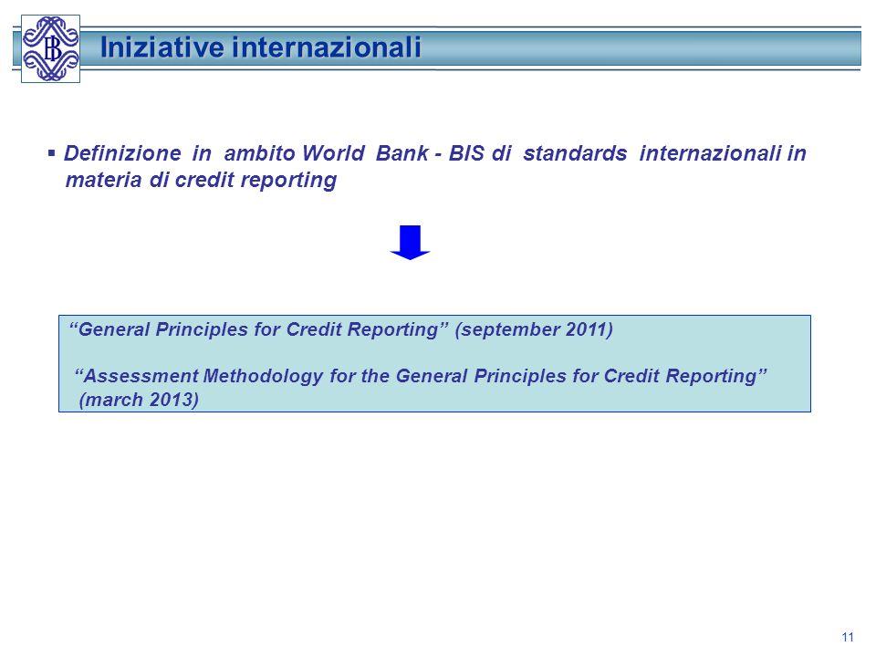 11 Iniziative internazionali Definizione in ambito World Bank - BIS di standards internazionali in materia di credit reporting General Principles for Credit Reporting (september 2011) Assessment Methodology for the General Principles for Credit Reporting (march 2013)