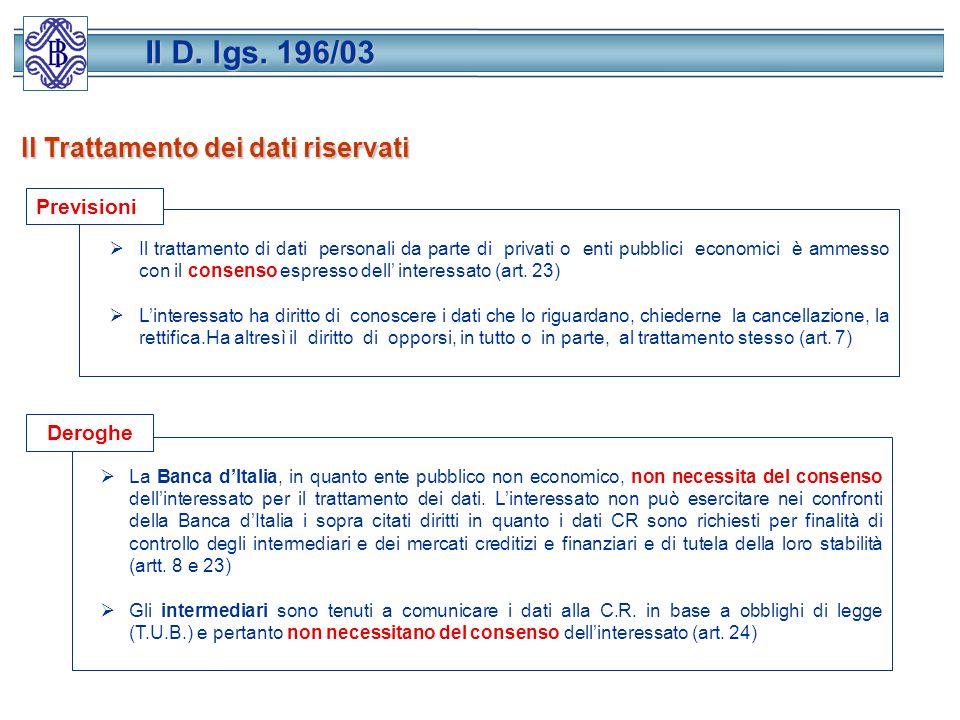 Il Trattamento dei dati riservati Il trattamento di dati personali da parte di privati o enti pubblici economici è ammesso con il consenso espresso dell interessato (art.