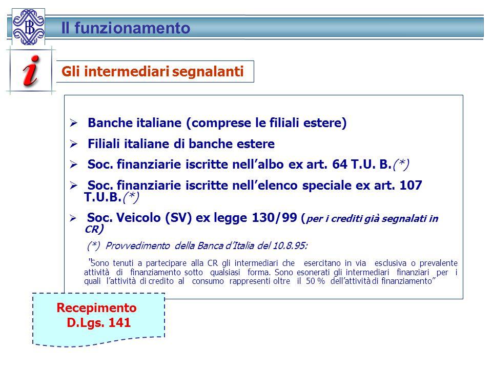Banche italiane (comprese le filiali estere) Filiali italiane di banche estere Soc.