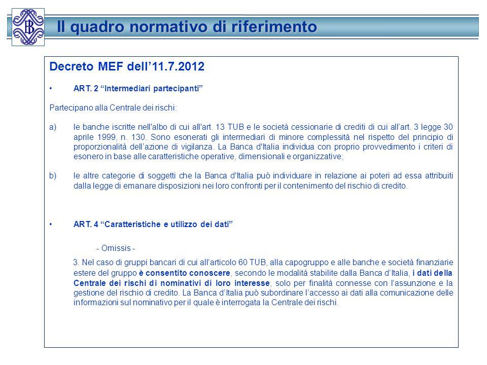 Il quadro normativo di riferimento Il quadro normativo di riferimento Decreto MEF dell11.7.2012 ART.