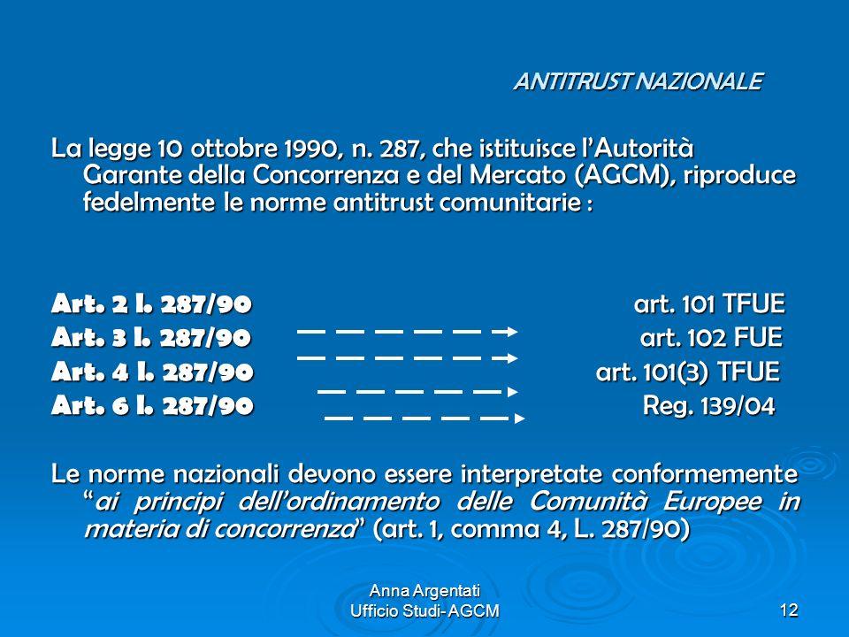 Anna Argentati Ufficio Studi- AGCM12 ANTITRUST NAZIONALE La legge 10 ottobre 1990, n. 287, che istituisce lAutorità Garante della Concorrenza e del Me