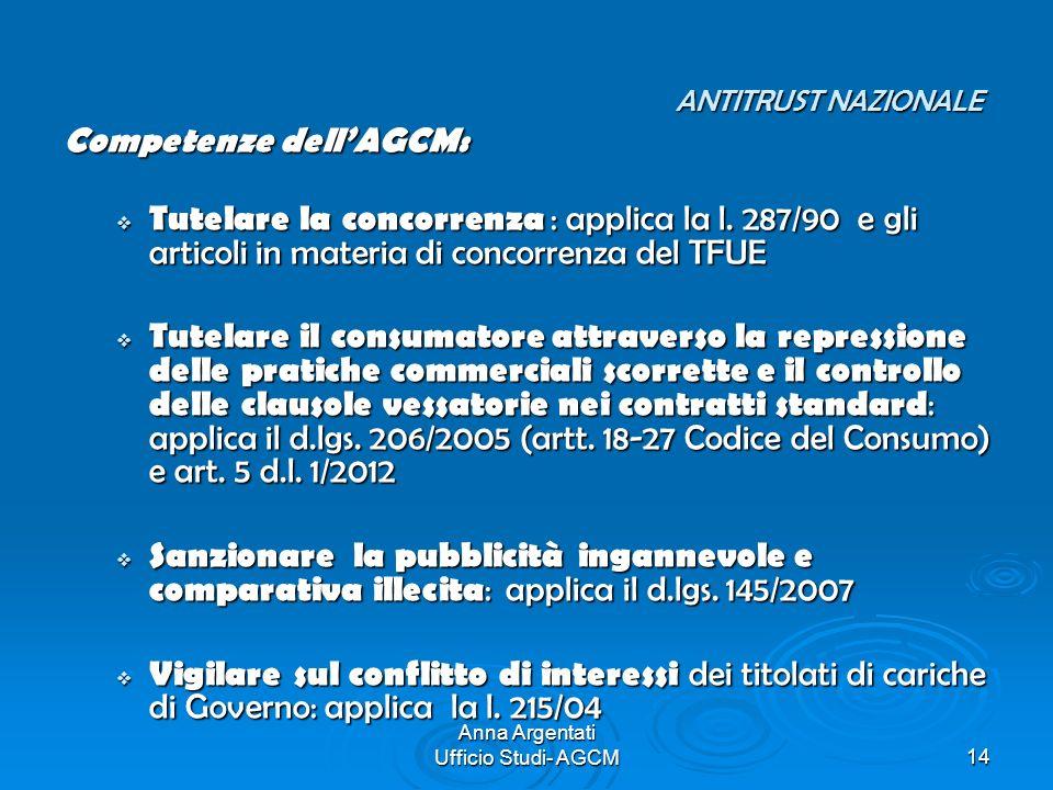 Anna Argentati Ufficio Studi- AGCM14 ANTITRUST NAZIONALE ANTITRUST NAZIONALE Competenze dellAGCM: Tutelare la concorrenza : applica la l. 287/90 e gli